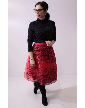 Tiulowa czerwona spódnica